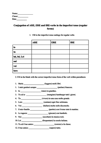 Italian ARE, ERE, IRE-verbs conjugation imperfect tense no prep worksheet