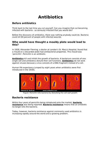 Simple text about antibiotics and bacteria resistance for low