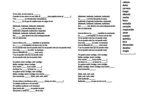 Bailando Lyrics Gap-Fill
