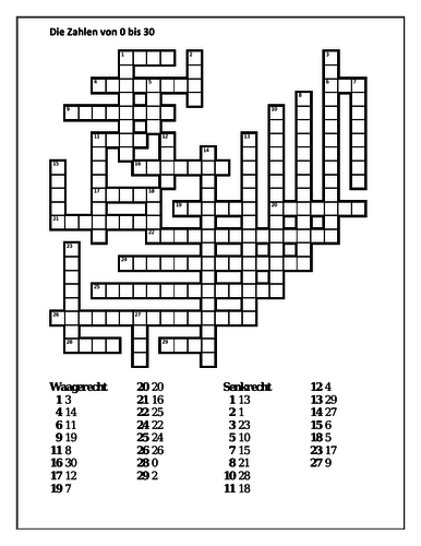 Zahlen (Numbers in German) 0 to 30 Crossword