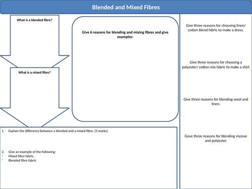 A Level Textiles- Blended and Mixed Fibres- Worksheet/ Brain Dump