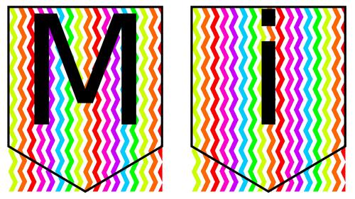Editable Rainbow Chevrons for Class Displays