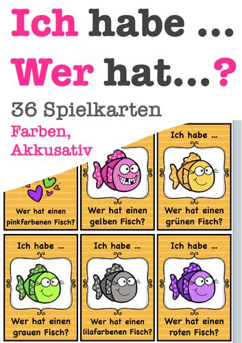 Ich habe, wer hat? Akkusativ Farben, colours, German speaking game, Deutsch, Spiel, Grammatik