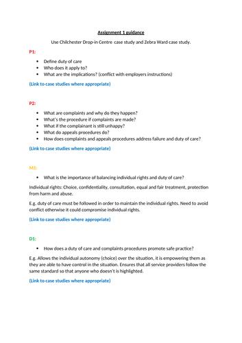 Unit 7 - Principles of Safe Practice - Task 1+2 Support Sheets (BTEC Nationals)