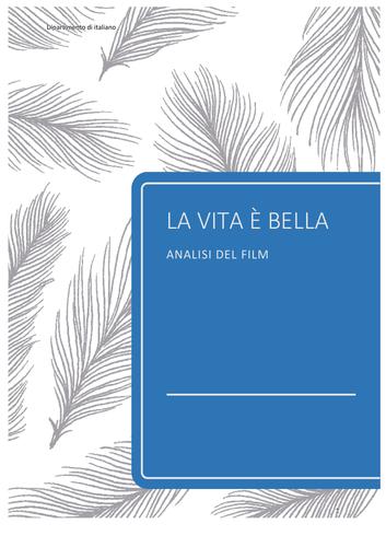 A-LEVEL ITALIAN LITERATURE LA VITA È BELLA FILM ANALYSIS