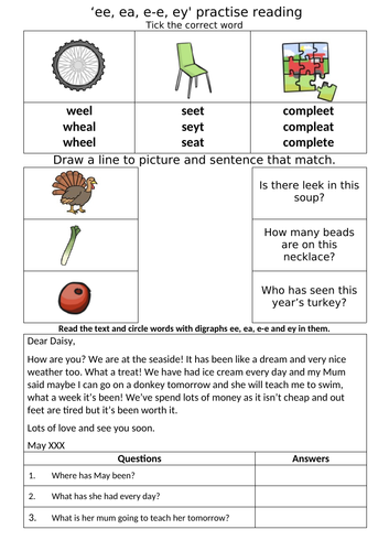 Letters and Sounds - Phase 5 - Alternative 'ee' worksheets