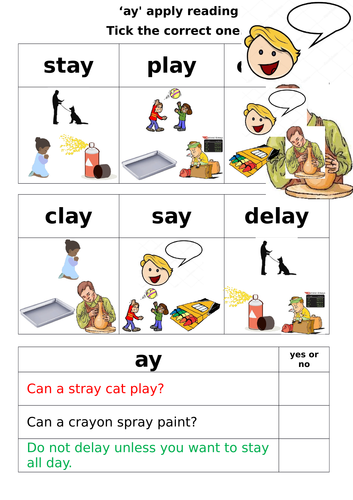 Letters and Sounds - Phase 5 - 'ay' worksheets