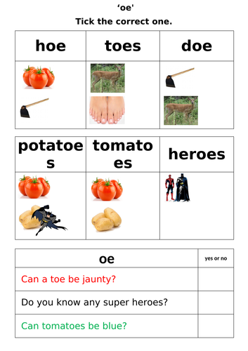 Letters and Sounds - Phase 5 - 'oe' worksheets
