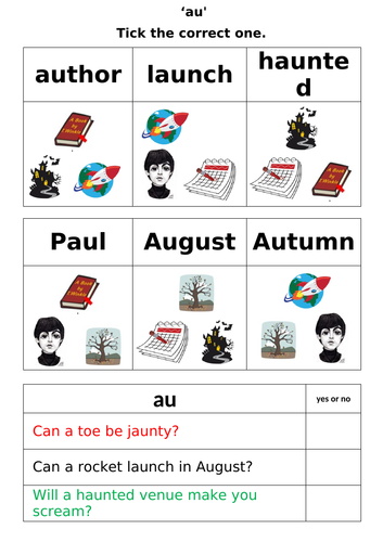 Letters and Sounds - Phase 5 - 'au' worksheets