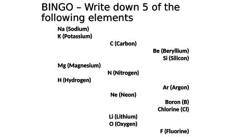 Electron Structure Bingo Activity