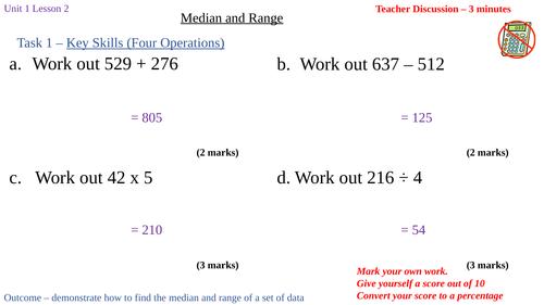 Median and Range (Y7 Theta Edexcel 5 Year SOW U1 L2)
