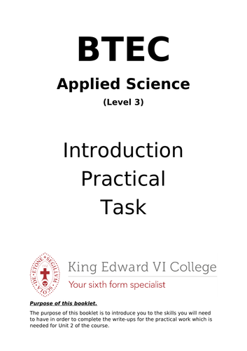 BTEC Applied Science Level 3 NQF Unit 2 Introduction Activity