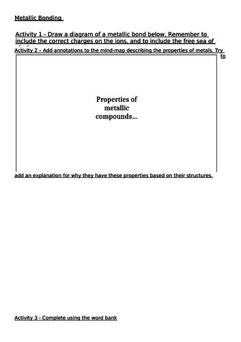 Metallic Bonds and Properties Worksheet