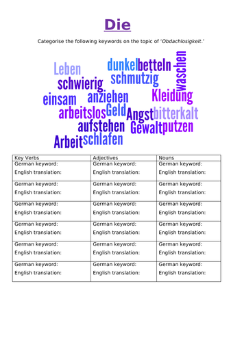 German AQA GCSE - Theme 2-  Die Obdachlosigkeit resources.