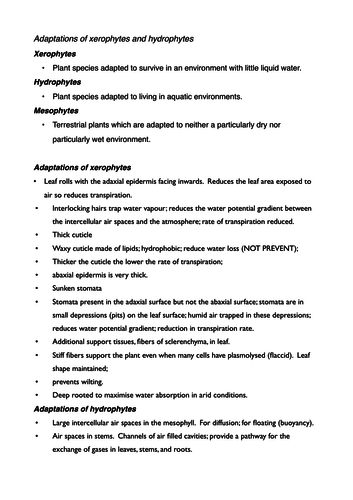 Xerophytes & hydrophytes