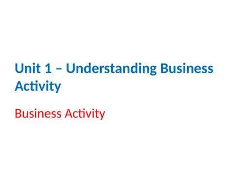 IGCSE Business Studies - Section 1 - Understanding Business Activity