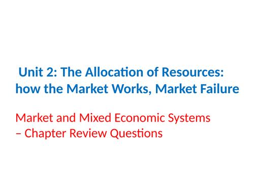 IGCSE Economics - Section 2 – The Allocation of Resources