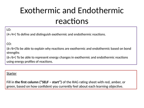 KS4 Endothermic and Exothermic reactions