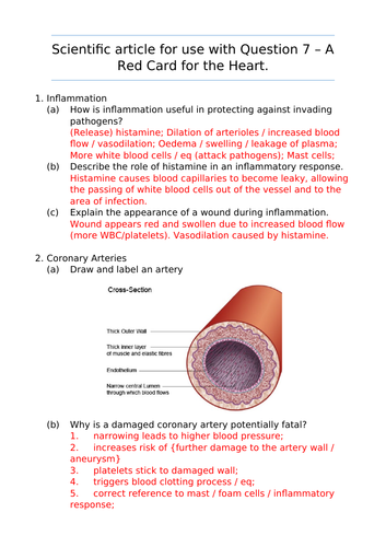 IAL Biology Unit 5 Article Questions Oct/Nov 2018: A Red Card for the Heart