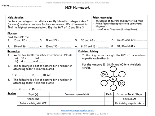 HCF Mastery Homework and Review