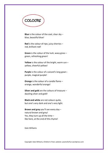 Colours - A poem about different colours to read aloud