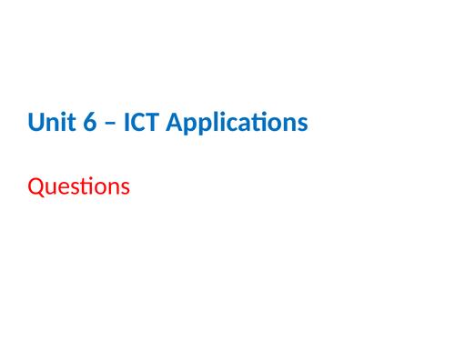 IGCSE Cambridge ICT – Section 6 – ICT Applications
