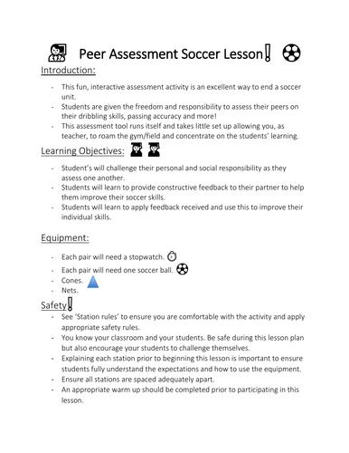 Fun soccer skills assessment