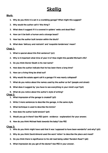 Guided Reading questions for the whole of Skellig