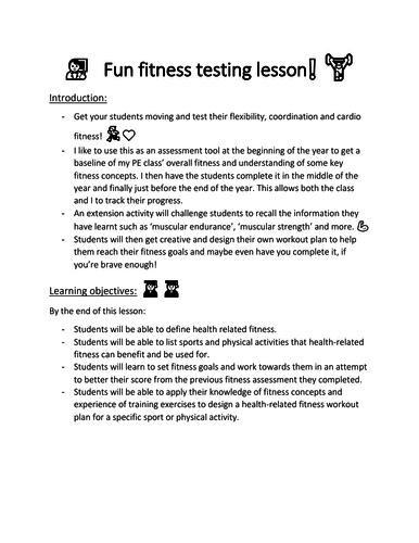 Fun fitness testing: flexibility, cardio and more.