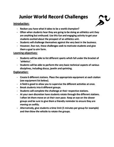 Athletics intro lesson (junior classes)