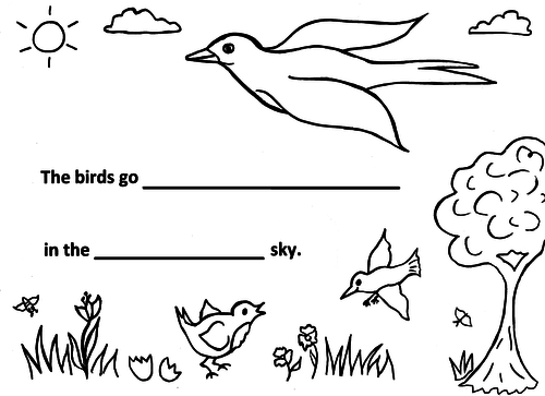 Birds in Flight Poetry Sheet, 3 grades, guided, KS1