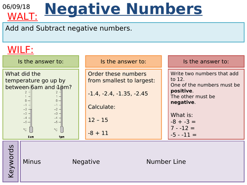 KS3/KS4 Maths: Negative Numbers