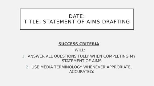 Eduqas GCSE Media Studies (9-1) Component 3 statement of aims planning film marketing focused lesson