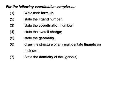 Coordination complexes exercise