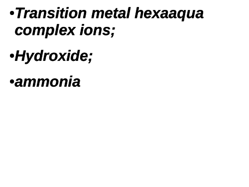 Acid base reactions of transition metal hexaaqua complexes