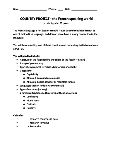French-speaking country project / Les pays francophones PROJET