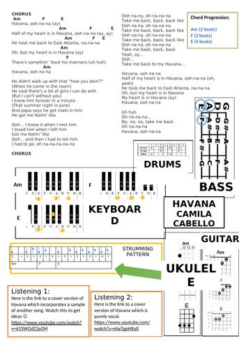 Havana Lead Sheet By Daisy2525 Teaching Resources Tes