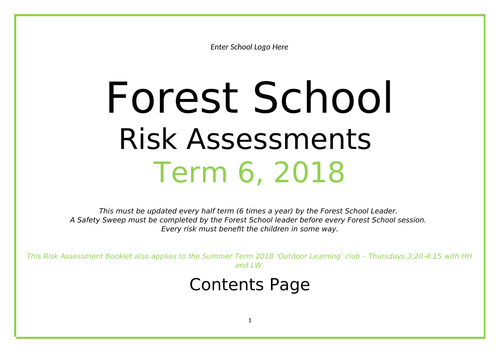 FOREST SCHOOL RISK ASSESSMENT BOOKLET AND SAFETY SWEEP TEMPLATE