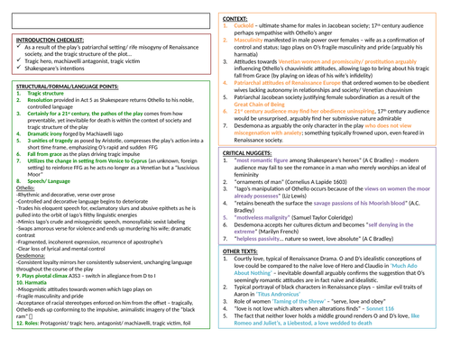 OTHELLO COMPLETE A* REVISION SHEET!