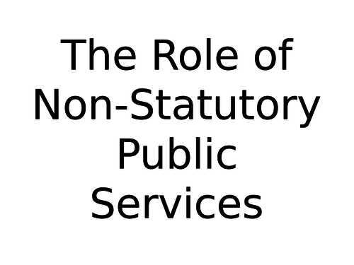 The Role of Non-Statutory Public Services in the UK
