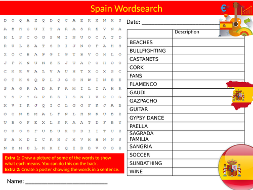 5 x Spain Wordsearch Sheet Starter Activity Keywords Cover Homework Geography Spanish