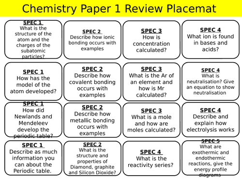 New AQA Trilogy and Chemistry revision placemat