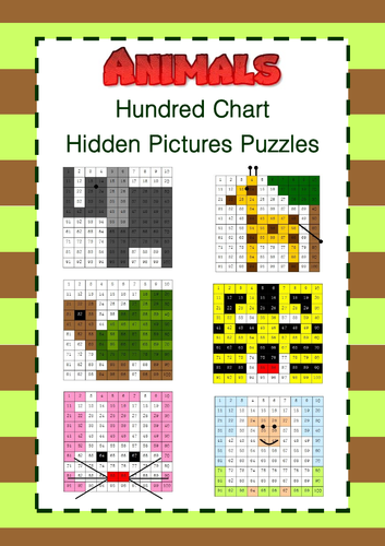 Animals - Hundred Chart Hidden Pictures Puzzles