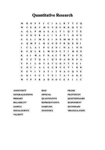 Sociology quantitative research key terms / wordsearch