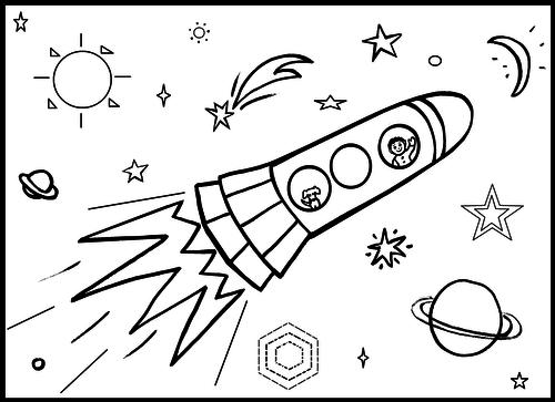 Rocket Colouring Sheet