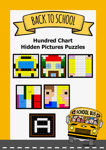 Back To School - Hundred Chart Hidden Pictures Puzzles