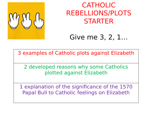 AQA 8145 Elizabethan England - collection of 3,2,1 starter activities focused on different topics