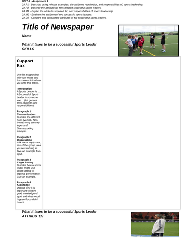 BTEC SPORT Level 2 UNIT 6 Support Sheet for Leadership Assignment 1
