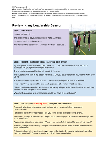 BTEC SPORT Level 2 UNIT 6 Reviewing Leadership Session Support Sheet