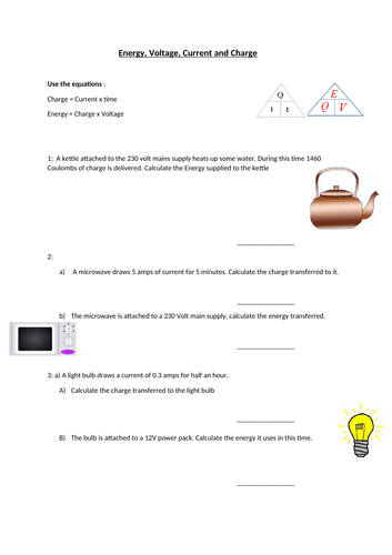 Energy, Charge, Voltage and Current calculations